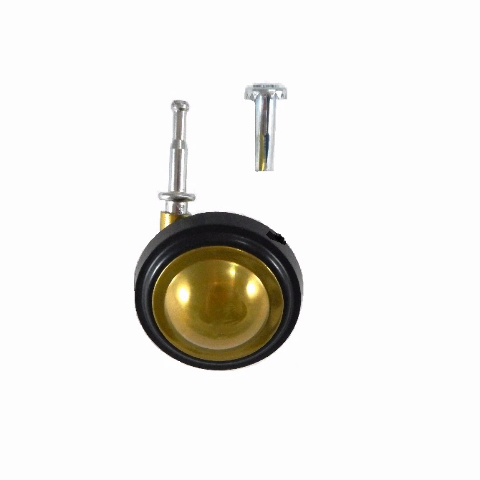"Shepherd Soft Tread Ball Swivel Caster with Brass Finish with 5/16"" x 1-1/2"" Woo"