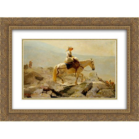 Winslow Homer 2x Matted 24x18 Gold Ornate Framed Art Print 'The Bridal Path, White Mountains'