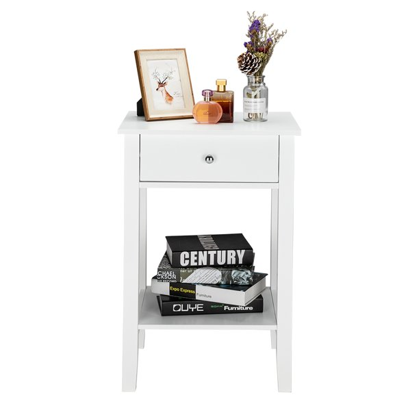 Bedroom Nightstand with One Drawer, Durable Storage Drawer Filing Cabinet, Compact Wooden Bedside Table for Saving Space, Small Decoration Furniture for Bedroom, Living Room or Office, White, Y0249