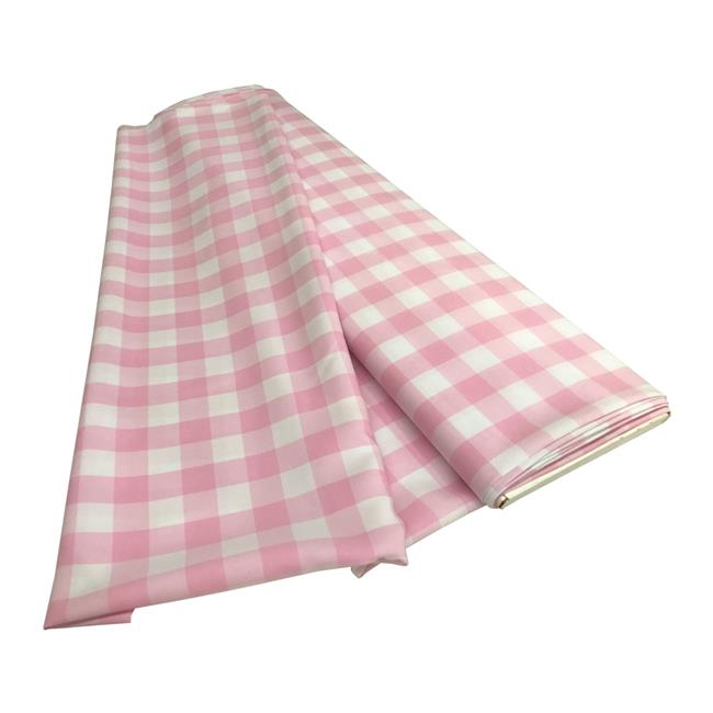LA Linen CheckBolt-5Yrd-PinkK37 5 Yards Gingham Checkered Flat Fold, White & Pink