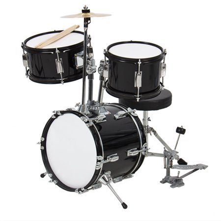 "Kids Drum Set 3 Pc 13"" Beginners Complete Set with Throne, Cymbal and More - Black"