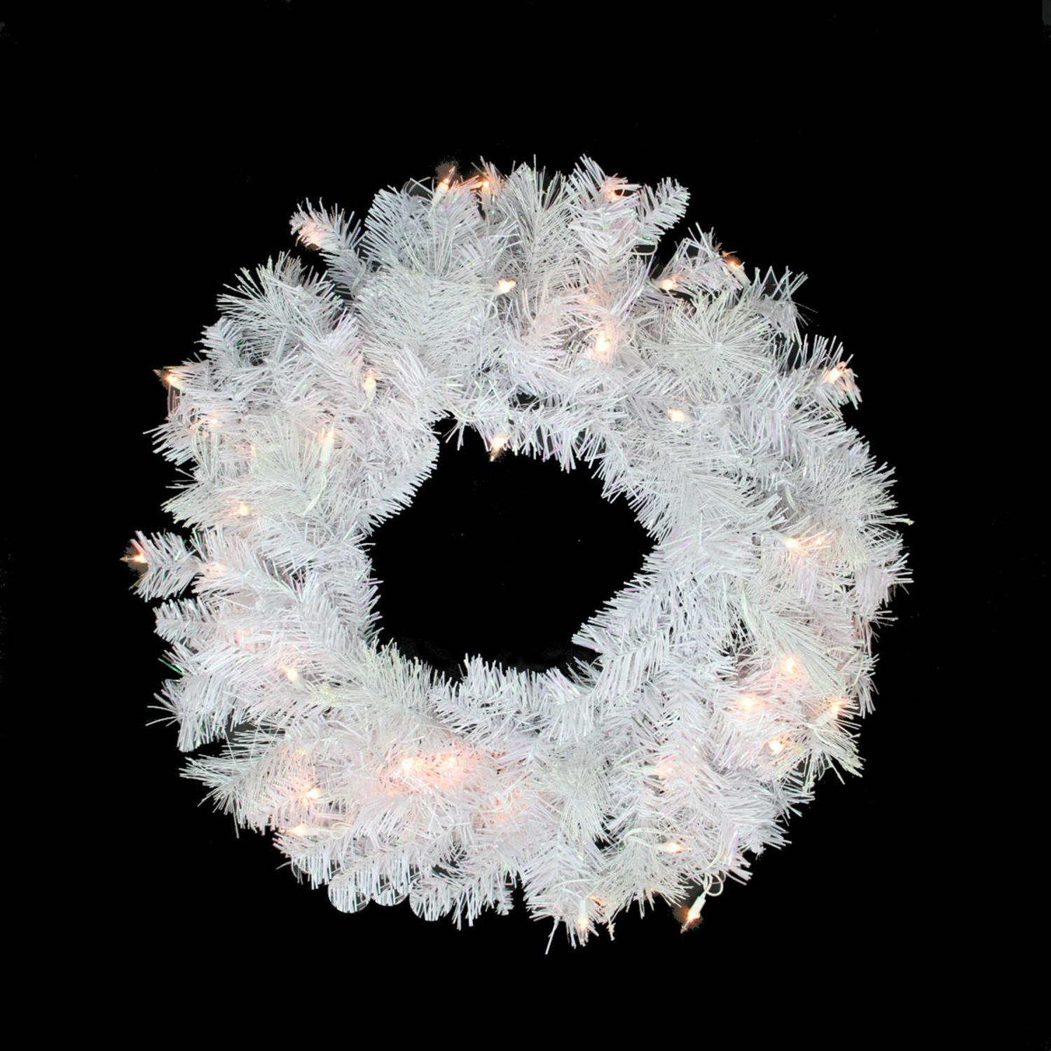 """Northlight 24"""" Prelit White Iridescent Mixed Pine Artificial Christmas Wreath - Clear Lights"""