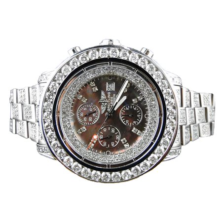 Breitling Breitling Super Avenger Diamond Chronograph (32ct) Breitling Super Avenger Mother of Pearl Face Custom 32.00ct Diamond Watch (53mm)