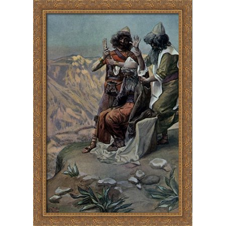 Moses On The Mountain During The Battle  As In Exodus 28X40 Large Gold Ornate Wood Framed Canvas Art By James Tissot