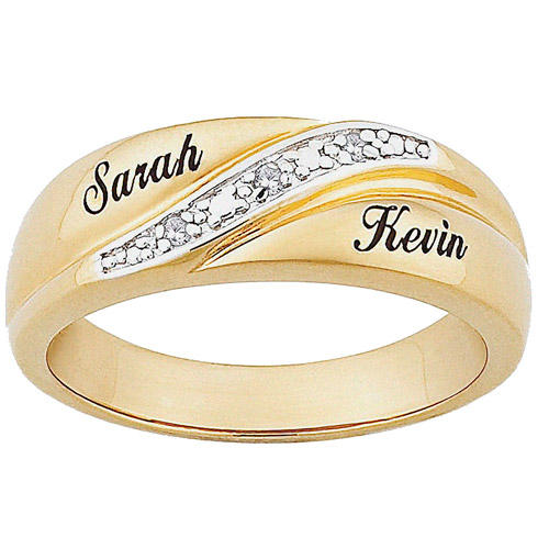 Personalized Mens Diamond Accent 10kt Gold Engraved Name Wedding