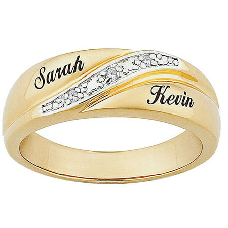 Personalized Men's Diamond Accent 10kt Gold Engraved Name ...