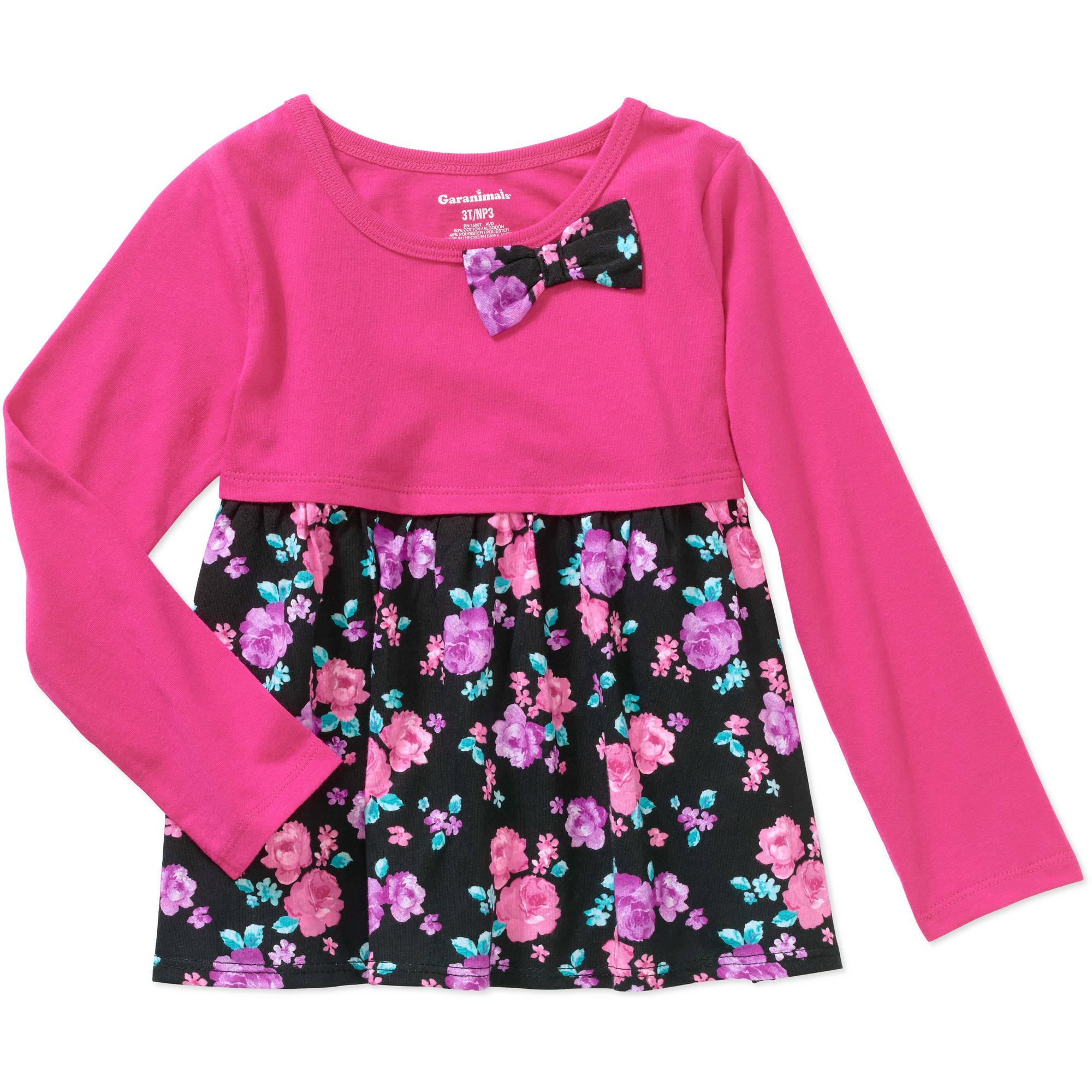 Garanimals Baby Toddler Girls' Long Sleeve Printed Babydoll Tee