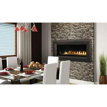 "Superior 43"" Millivolt Linear Vent-Free LP Fireplace- Lights & Glass Pebbles"