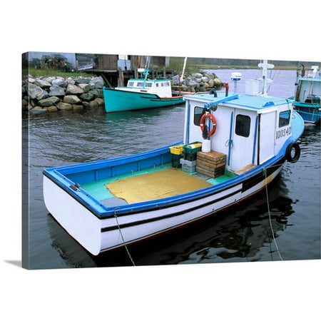Great BIG Canvas | Julie Eggers Premium Thick-Wrap Canvas entitled Canada, Nova Scotia. Lobster boats