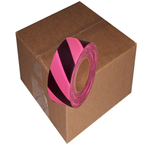 12 Roll Case of Fluorescent Pink and Black Safety Striped Flagging Tape 1 3/16 inch x 150 ft Non-Adhesive