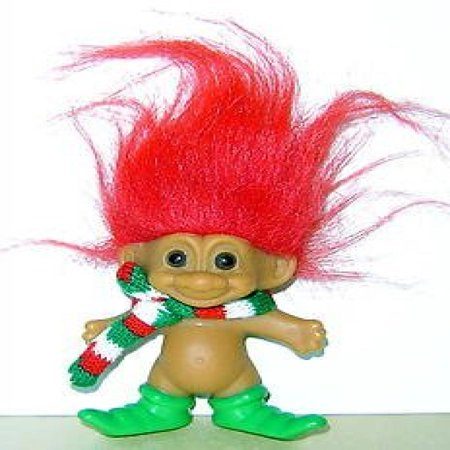 Russ Holiday Merry Little Elf Troll Lucky Doll Figure With Red Hair 4  Tall