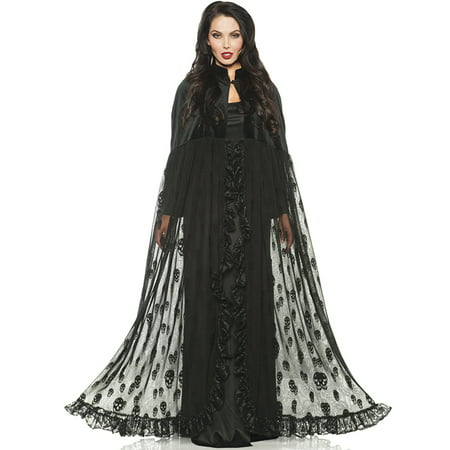Black Velvet Mesh Gothic Vampire Witch Skeleton Design Halloween Cape - Cheap Vampire Capes