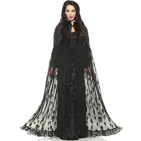 Black Velvet Mesh Gothic Vampire Witch Skeleton Design Halloween Cape Cloak-Os - Capes And Cloaks