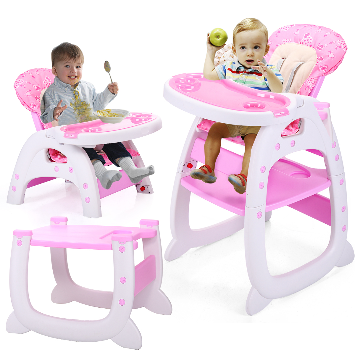 Lazymoon Pink 3 in 1 Baby High Chair Convertible Play Table Seat Booster Infant Toddler Highchairs