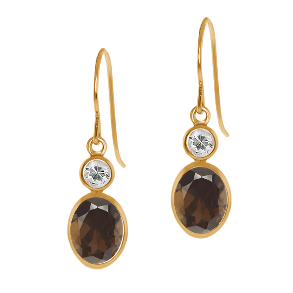 1.78 Ct Oval Brown Smoky Quartz White Topaz 14K Yellow Gold Earrings