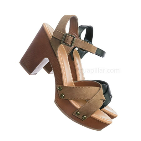 Economy by Soda, Sculpted Chunky Block Heel Clogs - Womens Lightweight Wood Base Sandal