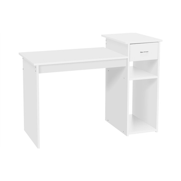 Topeakmart Computer Desk Laptop Table Home Office Desk W Drawer Shelves White Walmart Com Walmart Com
