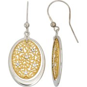Crystal Accent 14kt Gold-Plated Sterling Silver Matte-Finished Oval Star Pattern White Polished Frame Drop Earrings