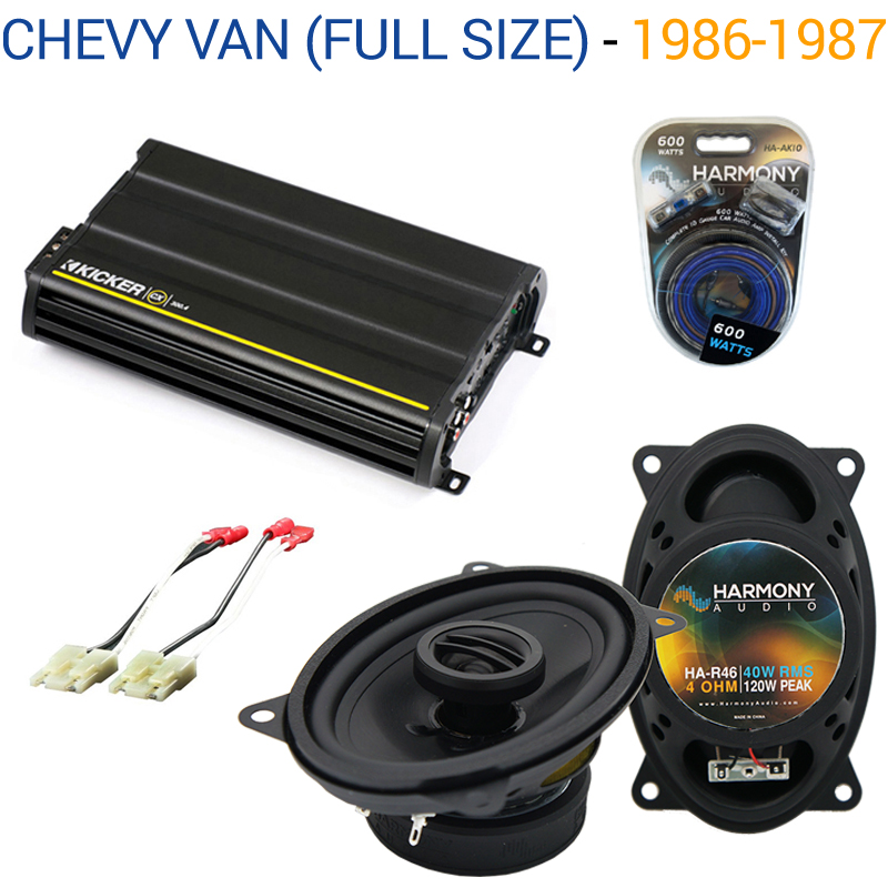 Chevy Van (Full Size) 1986-1987 OEM Speaker Upgrade Harmony R46 & CX300.4 Amp - Factory Certified Refurbished