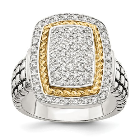Roy Rose Jewelry Sterling Silver with 14K Yellow Gold Diamond Ring Size - 7 Diamonds Gold Ring