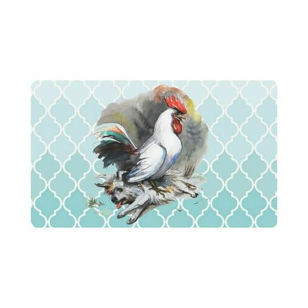 MKHERT Rooster Win Over The Dog Moroccan Trellis Doormat Rug Home Decor Floor Mat Bath Mat 30x18 inch ()