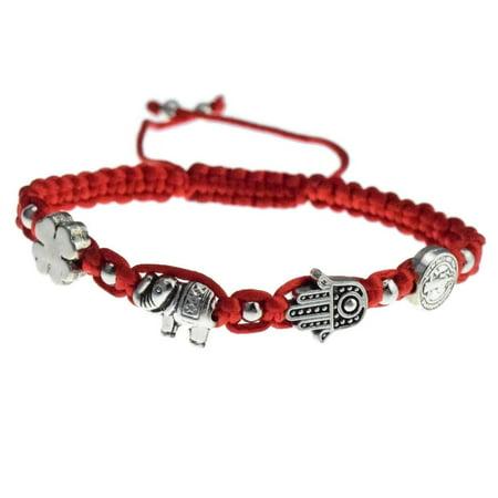Clovers Magnetic Bracelet - San Benito St Saint Benedict Medal Hamsa Hand Elephant Four-Leaf Clover Red Bracelet