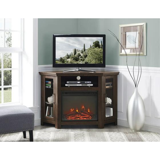 "Corner Hearth: 48"" Wood Corner Fireplace Media TV Stand Console"