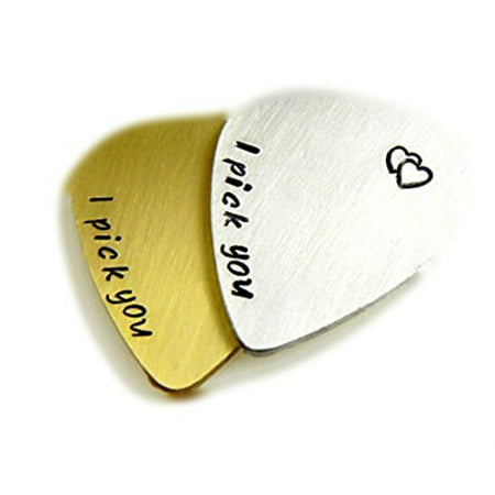 Set - Personalized Guitar Picks, I Pick You, Hand Stamped, Initials, Date, He...