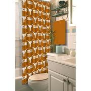"""NCAA University of Texas 72"""" x 72"""" Shower Curtain, 1 Each"""