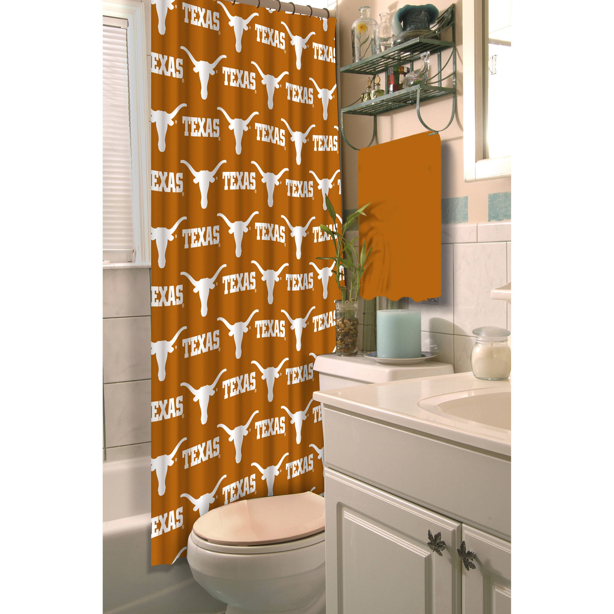 "NCAA University of Texas 72"" x 72"" Shower Curtain, 1 Each"