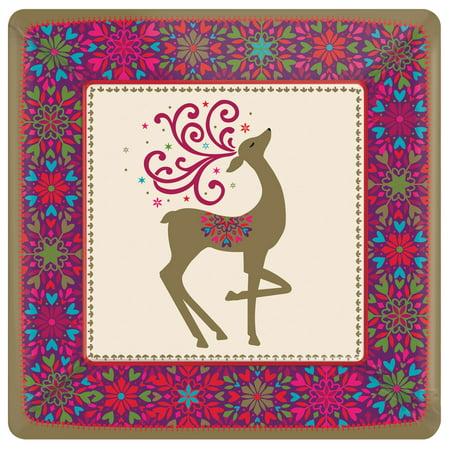 Winter Whimsey Reindeer Dinner Plates for 18