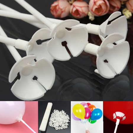 Grtsunsea 100 Pcs Party Festival Wedding Appliance Plastic Balloon Holder Sticks and Cups White - Ballon Holders