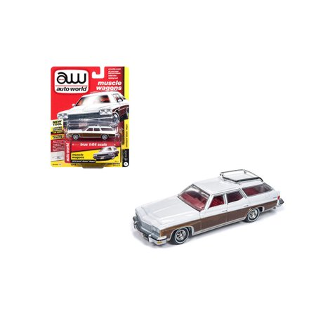 AUTO WORLD 1:64 PREMIUM 2018 RELEASE 4 VERSION B - 1975 BUICK ESTATE WAGON (ARCTIC WHITE)