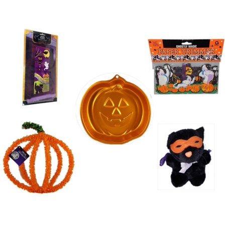 Halloween Fun Gift Bundle [5 Piece] - Happy  Door Panel - Ghostly Magic Paper Trimmer 3.75 in x 9 ft. - Wilton Iridescents Jack-O-Lantern Pan -  Pumpkin Plastic on Wire Decoration - Manley Toys  Cos