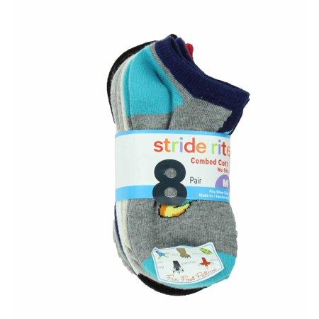 Stride Rite Boys Combed Cotton No Show Socks-8 Pack (Fun Feet, Small (7-10))