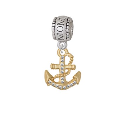 Gold Tone Clear Crystal Anchor - Mom Charm Bead