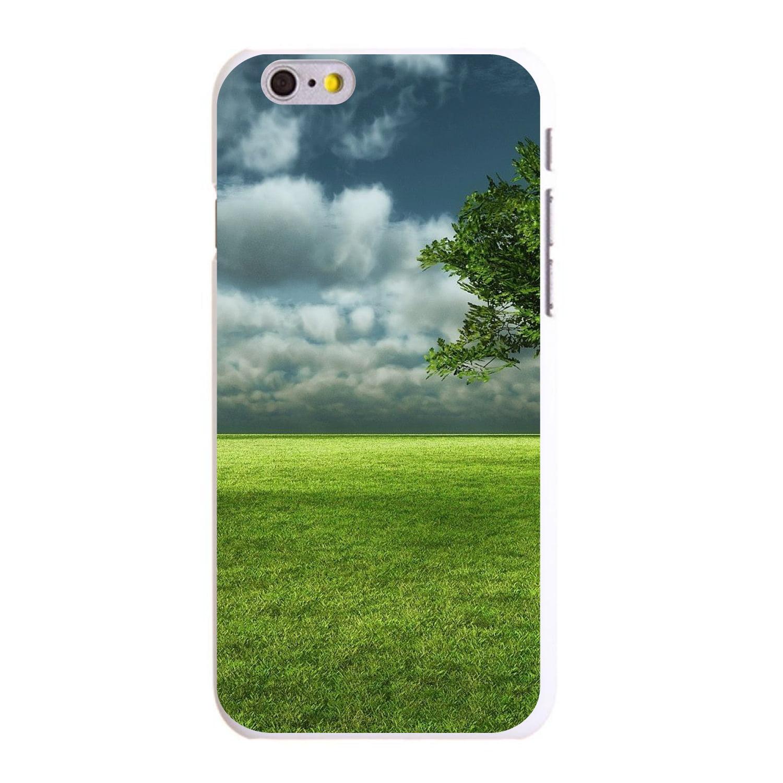 "CUSTOM White Hard Plastic Snap-On Case for Apple iPhone 6 PLUS / 6S PLUS (5.5"" Screen) - Grass Field Tree Sky"