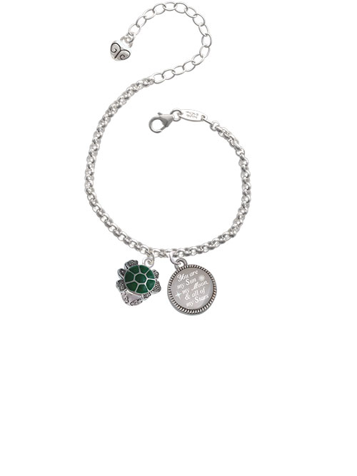 Silvertone Green Enamel 2-D Turtle Spinner You are my Sun, My Moon, and All of My Stars Engraved Bracelet by Delight and Co.