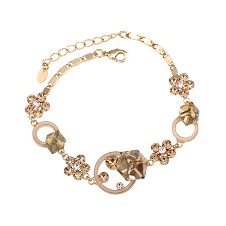 - Golden Tone Abstract Cube Flower Daisy Crystal Element Bracelet Bangle