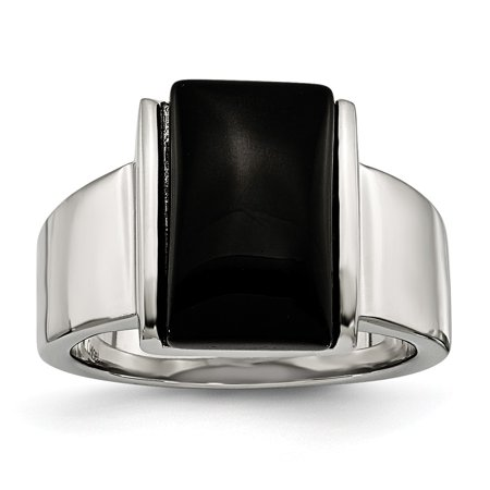 Chisel Stainless Steel Women's Black Glass Ring, Size 7