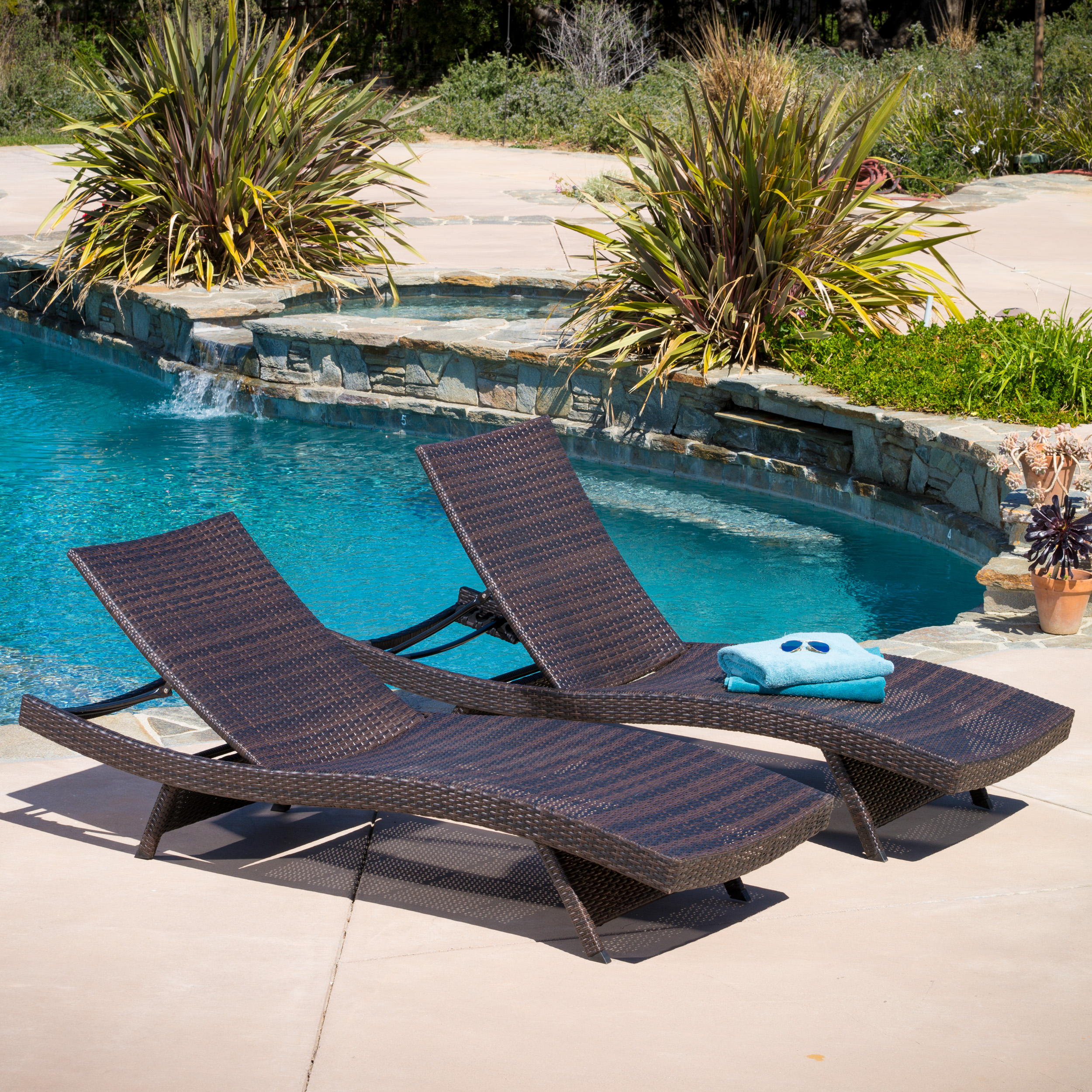 Hamlin Outdoor Brown Wicker Chaise Lounge Chairs (Set Of 2)