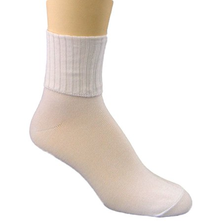 - Peds Women's Turn Cuff Sock 4 Pair Value Pack White, Womens Size 5-10