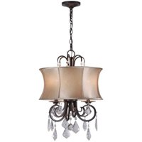 3-Light Bronze Convertible Chandelier