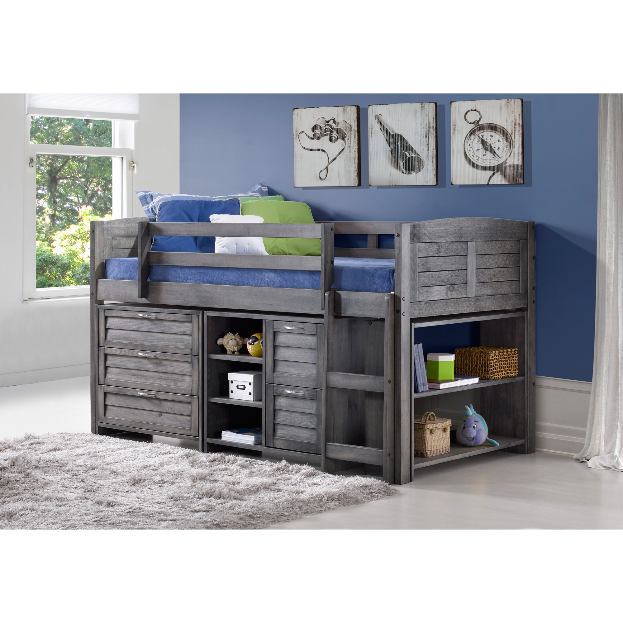 Donco Kids  Grey Wood Twin Louver Low Loft Bed with Chests, Shelves, and Bookcase