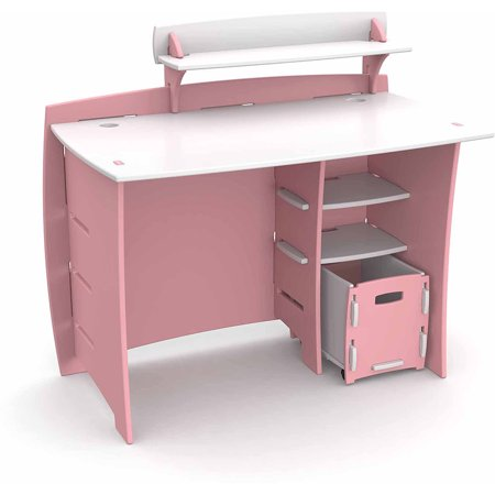 Legar  Kids Furniture Princess Series Collection  No Tools Assembly 43 Inch Complete Desk System With File Cart  Pink And White
