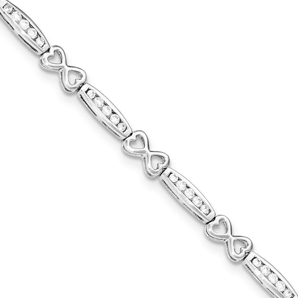"""925 Sterling Silver Cubic Zirconia Bracelet -7.25"""""""