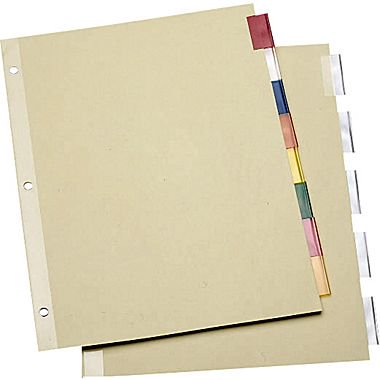staples economy insertable dividers with buff paper 5 tab