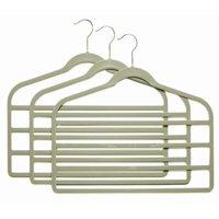 Gray Slim-Line Hanger Multi Pant Hangers (Pack of 6), 4 Bar Pant Hangers By ClosetHangerFactory,USA