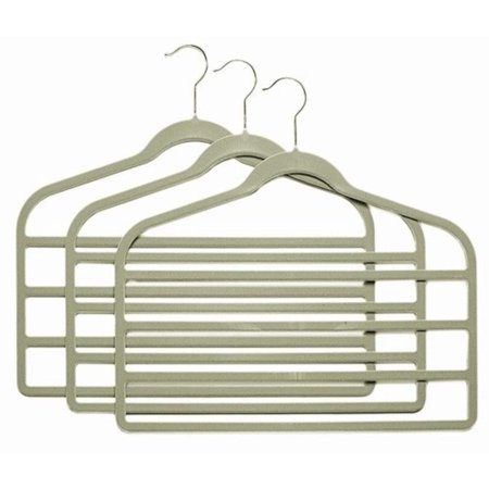 - Gray Slim-Line Hanger Multi Pant Hangers (Pack of 6), 4 Bar Pant Hangers By ClosetHangerFactory,USA
