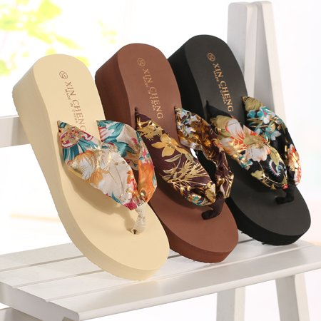 Floral Leather Thong Sandal - Meigar 2019 Women Flip Flops Bohemia Floral Beach Sandals Wedge Platform Thongs Slippers